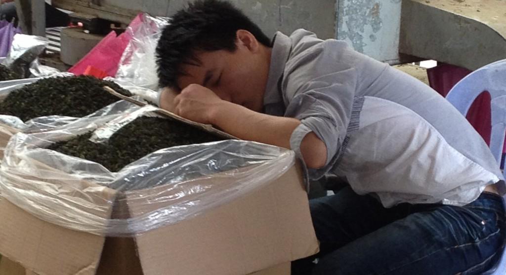 Slapen op tea market